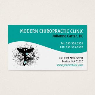 Cartão De Visitas Modern Swirl {Teal} Chiropractic Business Cards