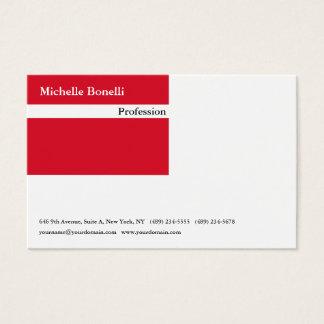 Cartão De Visitas Moderno minimalista branco vermelho liso