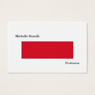 Cartão De Visitas Moderno minimalista branco vermelho simples liso