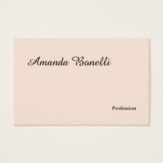 Cartão De Visitas Moderno minimalista simples liso cor-de-rosa de