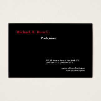 Cartão De Visitas Moderno minimalista vermelho branco preto liso