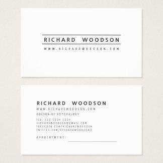 Cartão De Visitas Moderno profissional elegante minimalista branco
