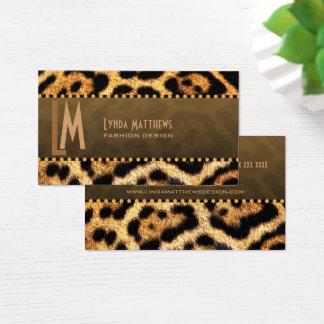 Cartão De Visitas Monograma à moda do impressão do leopardo
