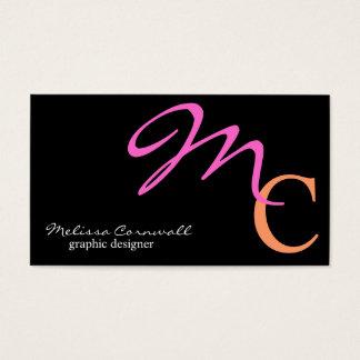 Cartão De Visitas Monograma à moda do roteiro do rosa e do pêssego