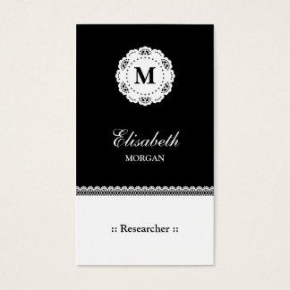 Cartão De Visitas Monograma branco preto do laço do pesquisador