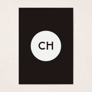 Cartão De Visitas Monograma branco preto elegante minimalista do