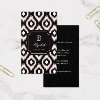 Cartão De Visitas Monograma chique à moda de Ikat do diamante do