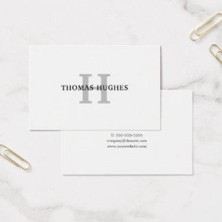 Cartão De Visitas Monograma cinzento branco mínimo elegante