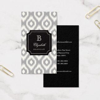 Cartão De Visitas Monograma cinzento de Ikat do diamante do marfim