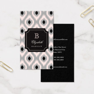 Cartão De Visitas Monograma cor-de-rosa preto chique à moda de Ikat