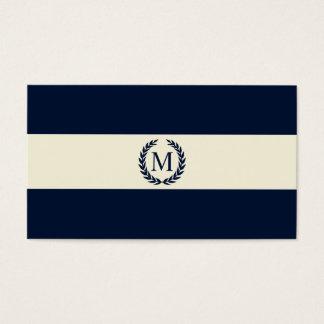 Cartão De Visitas Monograma da listra dos azuis marinhos & do creme
