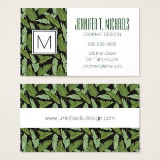 Cartão De Visitas Monograma das folhas de palmeira  