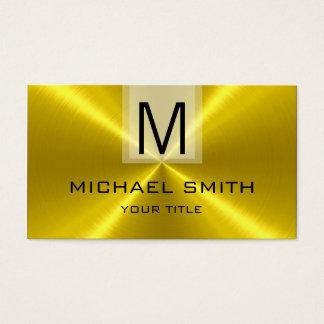 Cartão De Visitas Monograma de aço inoxidável do metal do ouro