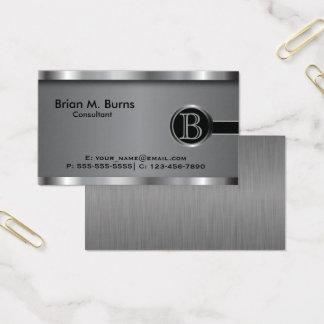 Cartão De Visitas Monograma de aço preto executivo