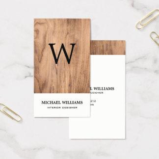 Cartão De Visitas Monograma de madeira rústico do vintage elegante