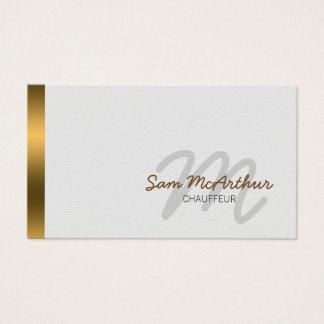 Cartão De Visitas Monograma do Cursive do ouro do transporte do