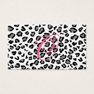 Cartão De Visitas monograma do impressão do leopardo