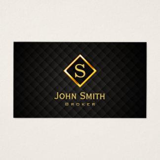 Cartão De Visitas Monograma do ouro do corretor imobiliário