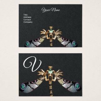 Cartão De Visitas Monograma do papel do preto da JÓIA da FANTASIA da