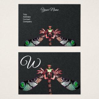 Cartão De Visitas Monograma do preto do rosa da JÓIA da FANTASIA da