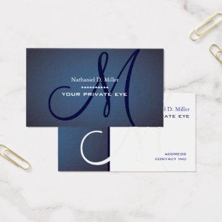 Cartão De Visitas Monograma dos azuis marinhos