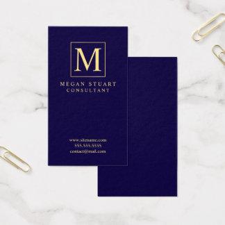 Cartão De Visitas Monograma elegante dos azuis marinhos e do ouro