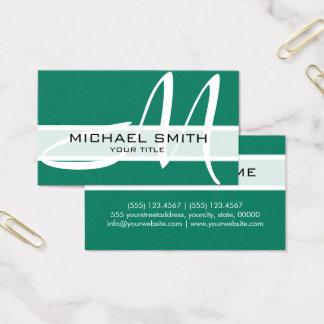 Cartão De Visitas Monograma elegante profissional Turquois ciano
