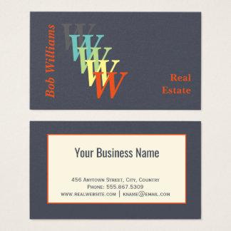 Cartão De Visitas Monograma estilizado dos bens imobiliários do