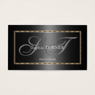 Cartão De Visitas Monograma feito sob encomenda preto cinzento do