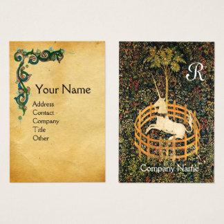 Cartão De Visitas Monograma floral do pergaminho de /Antique Brown