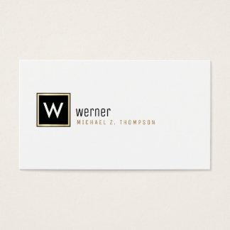 Cartão De Visitas monograma incorporado elegante no branco