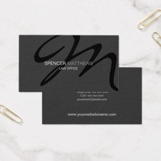 Cartão De Visitas Monograma moderno e elegante cinzento