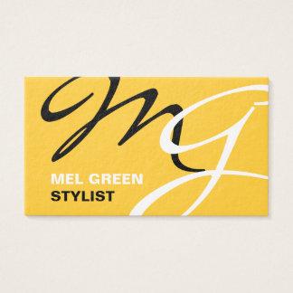 Cartão De Visitas Monograma moderno preto amarelo