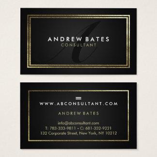 Cartão De Visitas Monograma moderno profissional do preto elegante