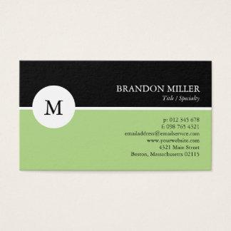 Cartão De Visitas Monograma moderno verde & preto um tomado partido