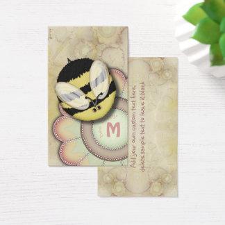 Cartão De Visitas Monograma personalizado feliz da abelha