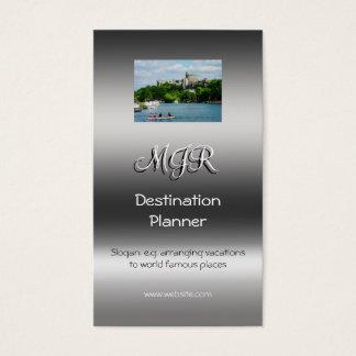 Cartão De Visitas Monograma, planejador do destino, metálico-efeito