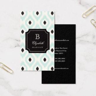 Cartão De Visitas Monograma preto chique à moda de Ikat do diamante