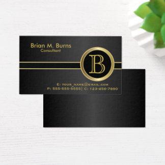 Cartão De Visitas Monograma preto clássico executivo