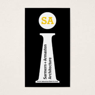 Cartão De Visitas Monograma preto do arquiteto, branco, amarelo