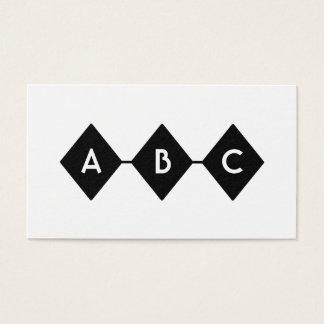 Cartão De Visitas Monograma preto e branco de três diamantes