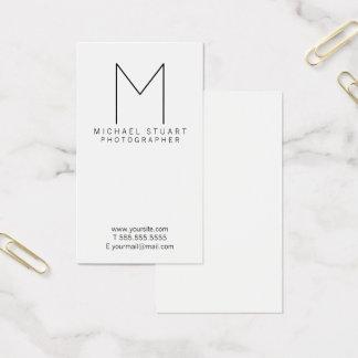 Cartão De Visitas Monograma preto e branco minimalista moderno