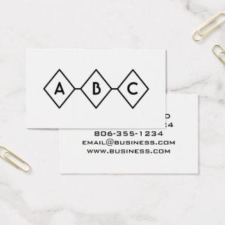 Cartão De Visitas Monograma preto e branco moderno retro dos