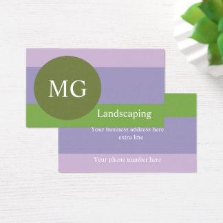 Cartão De Visitas Monograma redondo da lavanda e da paleta de cores