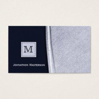 Cartão De Visitas Monograma sofisticado da pena do marinho e da