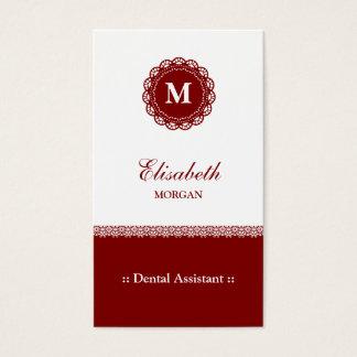 Cartão De Visitas Monograma vermelho elegante do laço do assistente