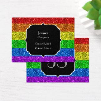 Cartão De Visitas Monograma vibrante dos sparkles da bandeira de