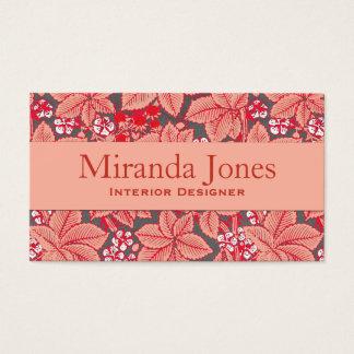 Cartão De Visitas Morangos de Nouveau da arte e folhas, laranja