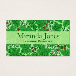 Cartão De Visitas Morangos de Nouveau da arte e folhas, verde limão