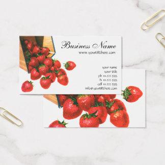 Cartão De Visitas Morangos na cesta, bagas do vintage da fruta da